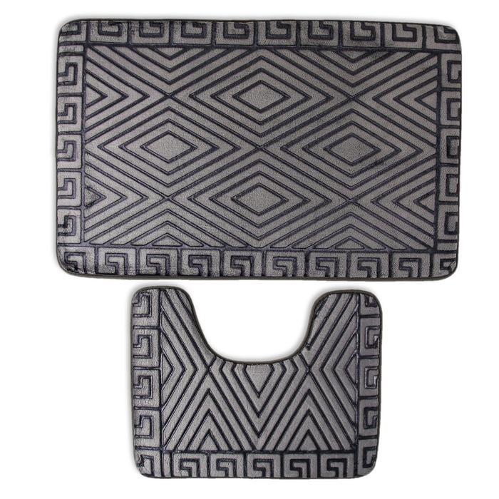 Набор ковриков для ванны и туалета «Ромбы», 2 шт: 38×50, 50×80 см, цвет серый - фото 308318528