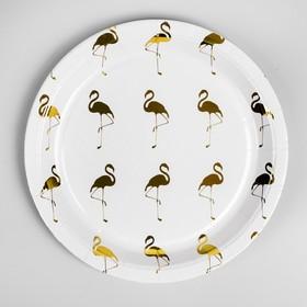 Paper plate Flamingo set of 6 PCs, gold color