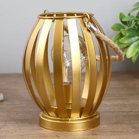 "Ночник ""Фонарь золотой"" LED 3AAА золото 13,5х13,5х18 см."