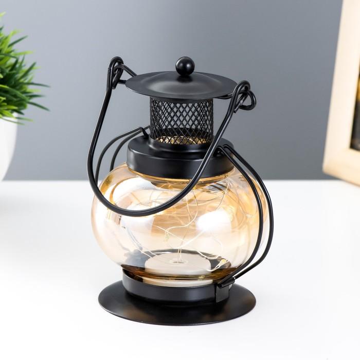 "Ночник настольный ""Фонарь"" LED черный 11,5х11,5х20 см. - фото 7931823"