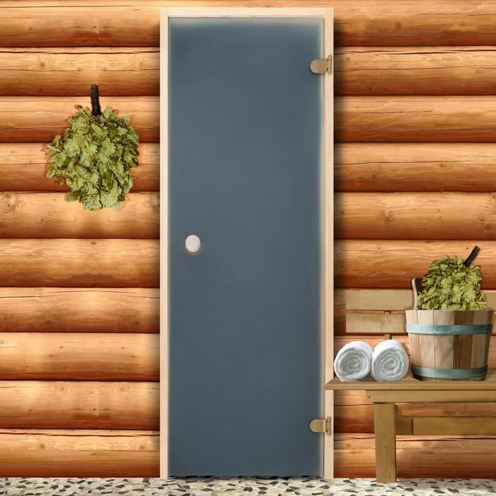 Дверь для бани и сауны 190×70 см, сатин, круглая ручка