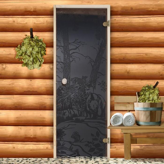 Дверь для бани и сауны 190×70 см, Мишки, круглая ручка