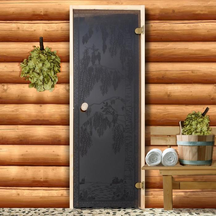Дверь для бани и сауны 190×70 см, Берёзка, круглая ручка