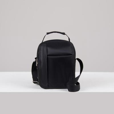 Bag mens, division zipper, outside pocket, black