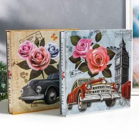 """Фотоальбом на 500 фото 10х15 см """"Башня, автомобиль и цветы"""" в коробке МИКС 33,5х30х5,5 см"""
