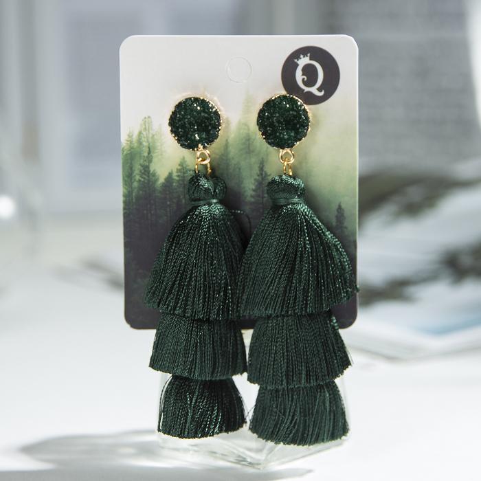 """Серьги """"Кисти"""" ванесса, цвет зелёный, L кисти 5,5 см - фото 798258100"""