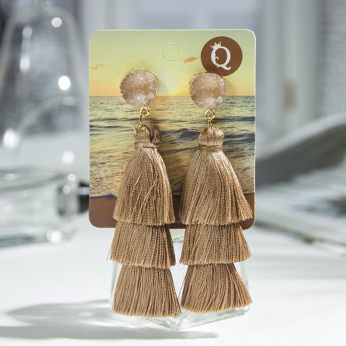 "Серьги ""Кисти"" ванесса, цвет коричневый, L кисти 5,5 см - фото 798258106"