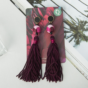 "Earrings ""Brush"" Paradise, color dark purple, L brush 8 cm"