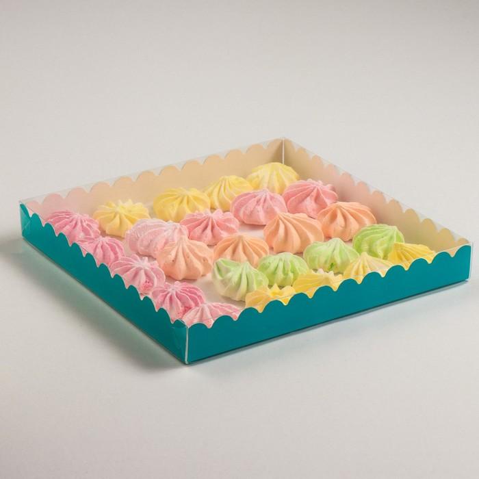 Коробочка для печенья, голубой, 25 х 25 х 3 см - фото 308035760