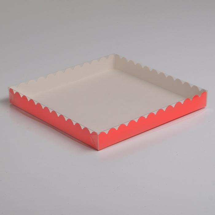 Коробочка для печенья, персиковый, 25 х 25 х 3 см - фото 308035764