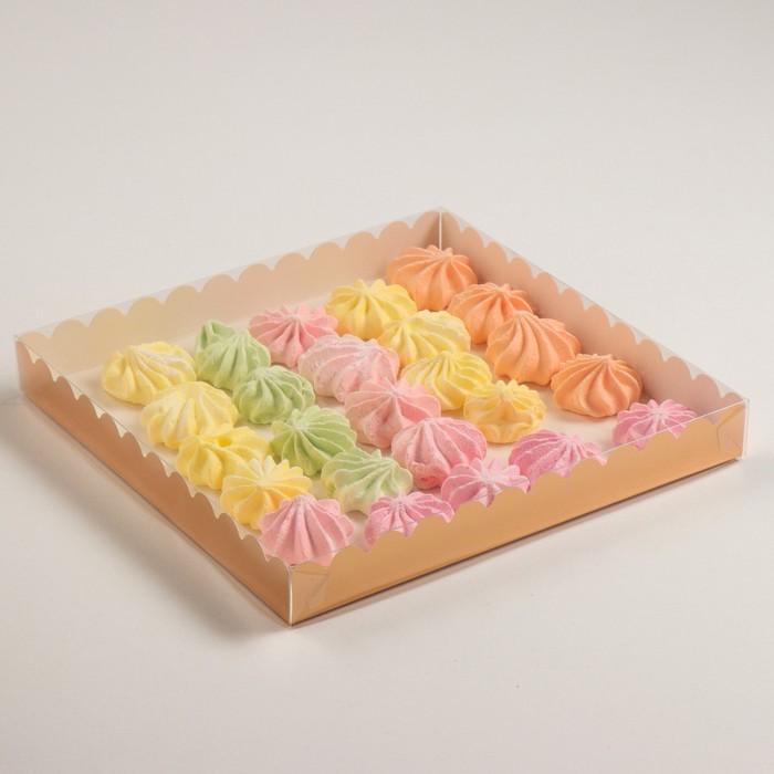 Коробочка для печенья с PVC крышкой, золотой, 25 х 25 х 3 см - фото 308035765