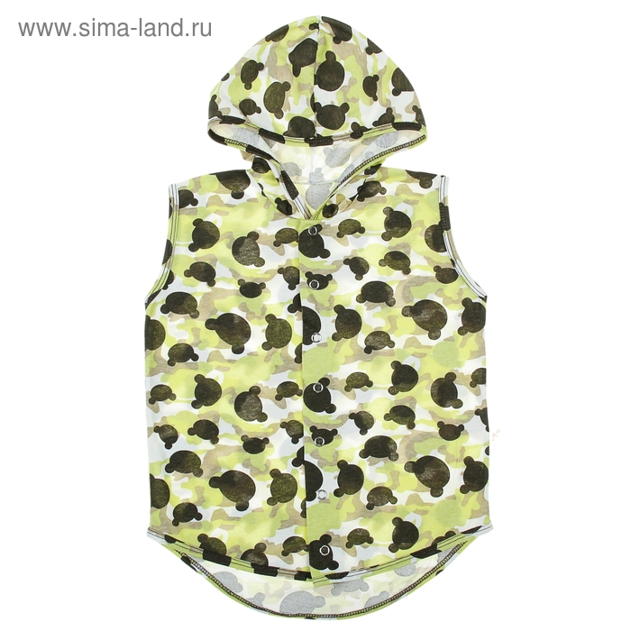 Безрукавка с капюшоном детская, рост 98 см (56), на 3 года, цвет зеленый