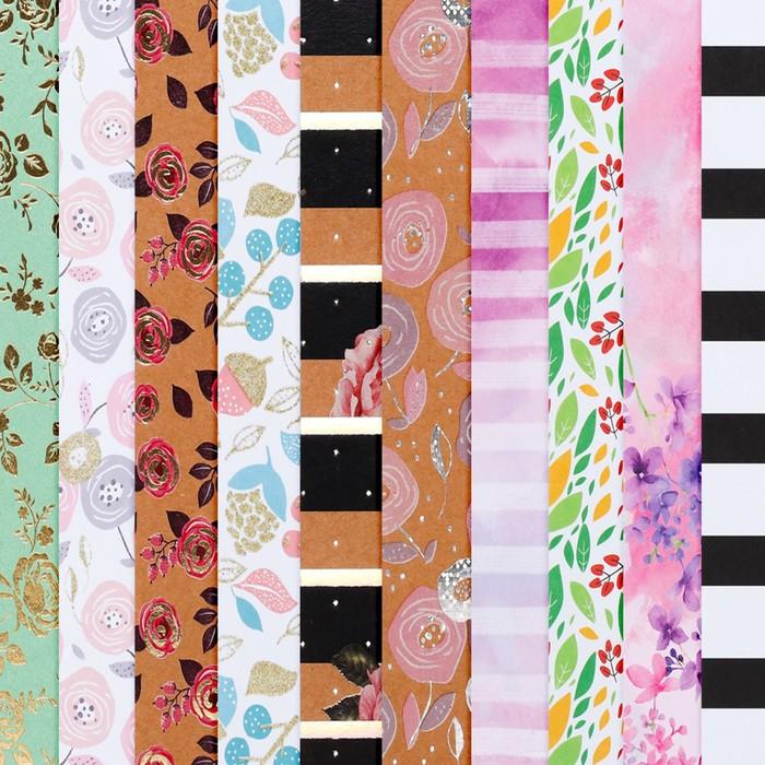 Набор бумаги для скрапбукинга «Цветочное поле», 10 листов, 20 × 20 см - фото 683960389