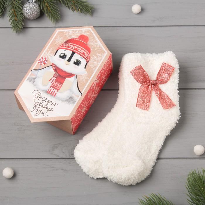 """Носки детские махровые в коробке """"Пингвин"""", белый, р-р 14-20см"""