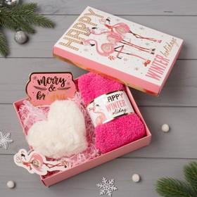 """Подарочный набор KAFTAN """"Pink holidays"""" носки р, 36-39 (23-25 см), ёлочная игрушка"""