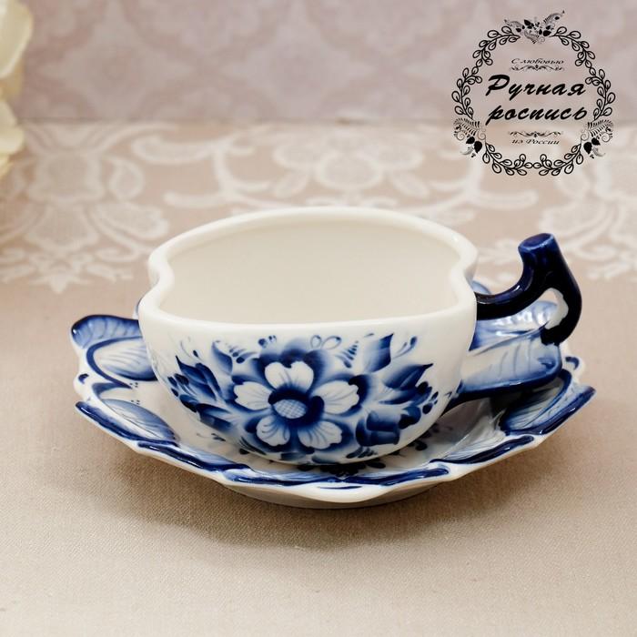 """Чайная пара """"Яблоко"""", гжель - фото 169878765"""