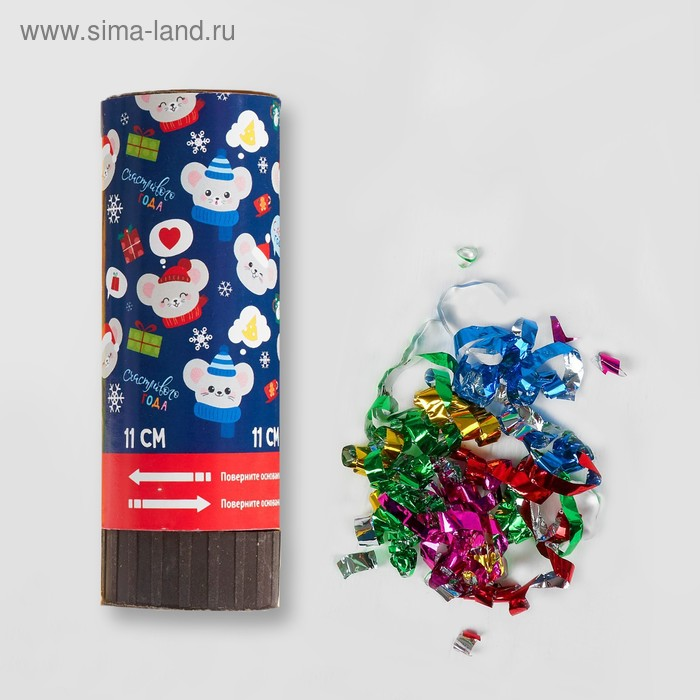 "Firecracker-turning ""Happy year"" (confetti+foil streamer) 11 cm"