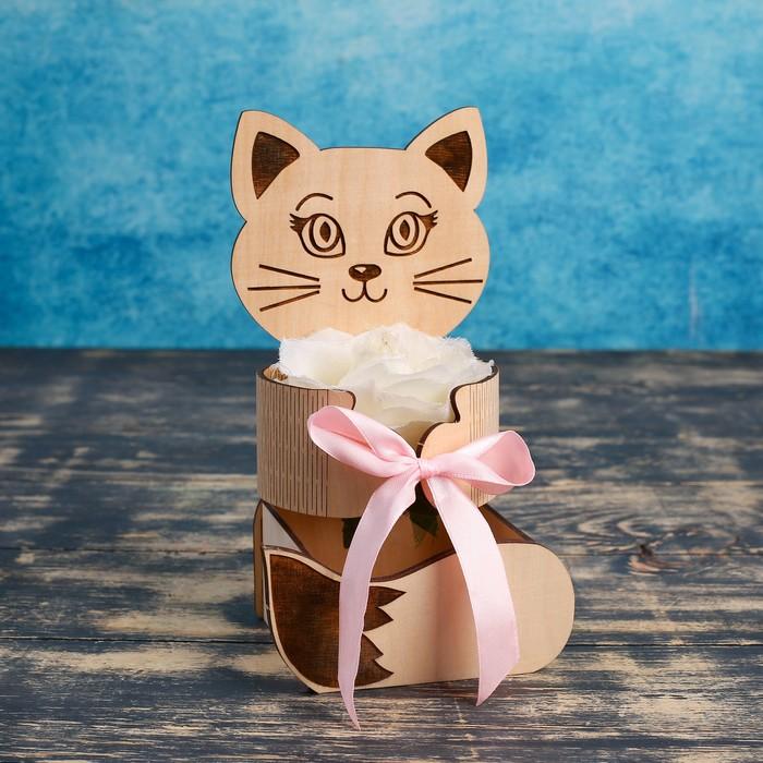 """Кашпо флористическое """"Котёнок"""", неокрашенное, 8,5×12,5×20 см"""