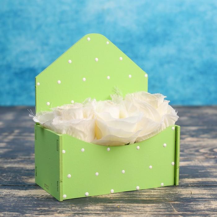"""Кашпо деревянное Конверт Малыш """"Классик"""", салатовый с белыми точками - фото 206484199"""