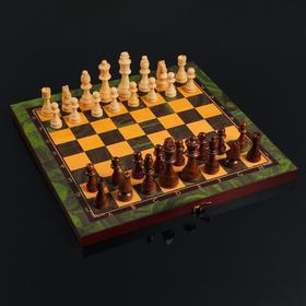 """Настольная игра 3 в 1 """"Малахит"""":  шахматы, шашки, нарды (доска дерево 40х40 см)"""