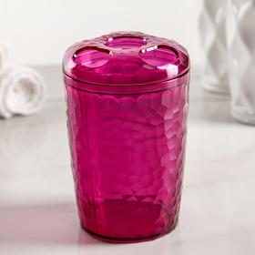 Стакан для зубных щёток Natural stone, цвет фиолетово-прозрачный