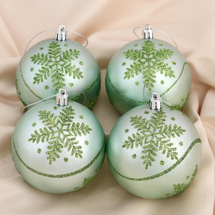 """Набор шаров пластик d-8 см 4 шт """"Софи"""" снежинки зелёный"""