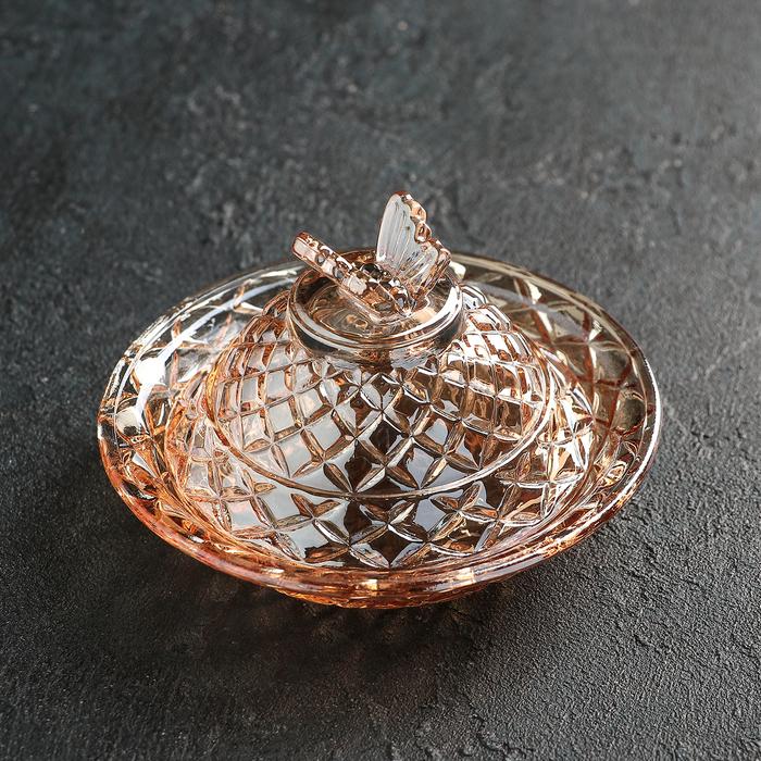 Конфетница с крышкой «Бабочка», 250 мл, цвет золотой - фото 308101833