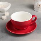 """Чайная пара """"Карамель"""": чашка 300 мл, блюдце 15,5 см, цвет красный - фото 259575897"""