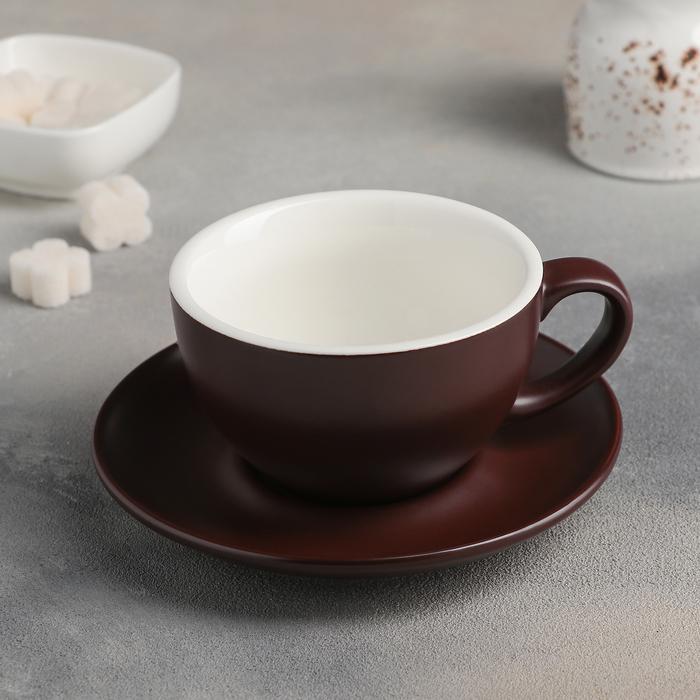 """Чайная пара """"Карамель"""": чашка 300 мл, блюдце 15,5 см, цвет коричневый - фото 308067521"""