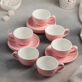 Сервиз кофейный «Карамель», 12 предметов: 6 чашек 90 мл, 6 блюдец 12 см, цвет розовый