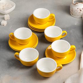 Сервиз кофейный «Карамель», 12 предметов: 6 чашек 90 мл, 6 блюдец 12 см, цвет жёлтый