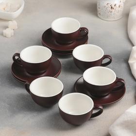 Сервиз кофейный «Карамель», 12 предметов: 6 чашек 90 мл, 6 блюдец 12 см, цвет коричневый