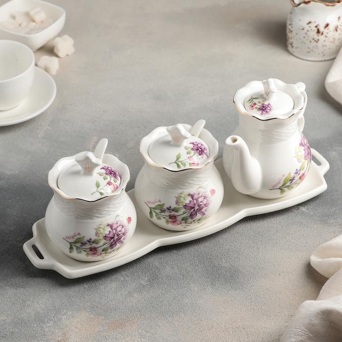 Набор сервировочный «Букет весны», 5 шт: чайник 200 мл, 2 сахарницы, 2 ложки - фото 308130131
