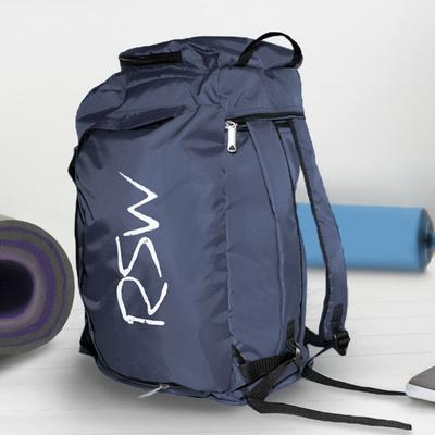Сумка-рюкзак спортивная, отдел на молнии, 3 наружных кармана, длинный ремень, цвет синий