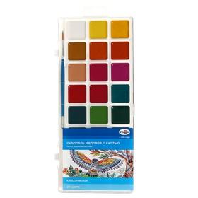 Акварель 24 цвета «Гамма» «Классическая», медовая, с кистью, пластик