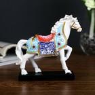 """Souvenir Polyresin """"a White horse in a coloured blanket allure"""" 13х12х4 cm"""