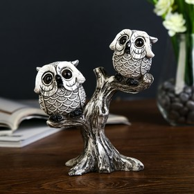 """Souvenir Polyresin """"Two small owl with big eyes on a tree"""" 16,5x14,5x6 cm"""