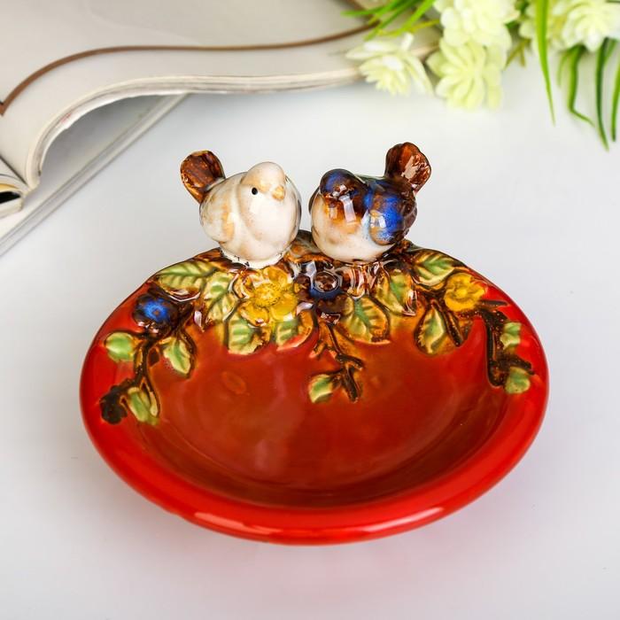 """Сувенир керамика подставка """"Птички на тарелочке"""" 7х13,5х14,5 см - фото 798259248"""