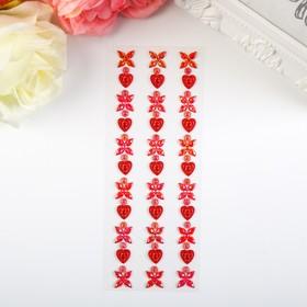 "Sticker plastic rhinestone ""Hearts and flowers"" MIX 21,5x7 cm"