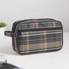 Косметичка дорожная, отдел на молнии, наружный карман, с ручкой, цвет зелёный - фото 226818560