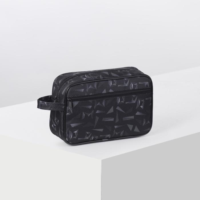 Косметичка дорожная, отдел на молнии, наружный карман, с ручкой, цвет чёрный