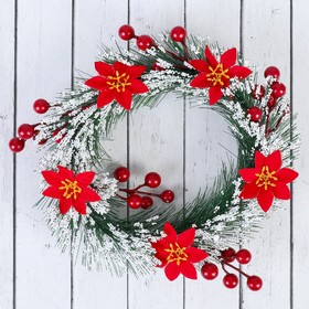 Wreath Christmas d 18 cm in frost flowers and berries