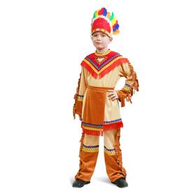 """Карнавальный костюм """"Индеец"""" для мальчика, куртка, брюки, фартук, головной убор, р. 30, рост 110-116 см"""