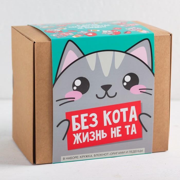 Подарочный набор «Котик»: кружка 300 мл, блокнот-оригами, леденцы 100 г
