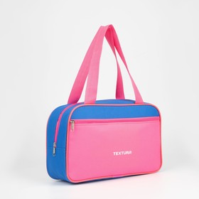 Shoe bag, zip pocket, outside pocket, pink / blue