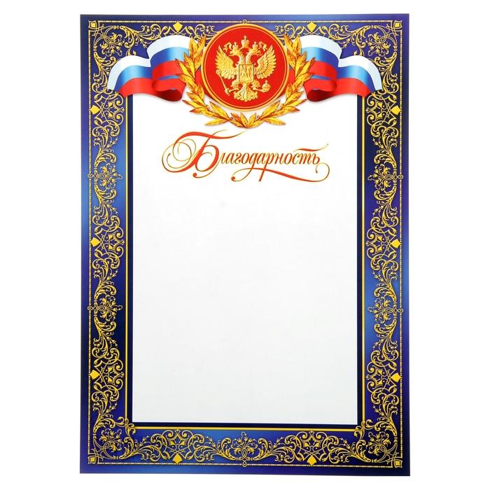 """Благодарность """"Универсальная"""" символика РФ, синяя рамка, узоры"""