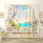 Фотошторы «Залив из балкона замка», размер 145 × 260 см, габардин