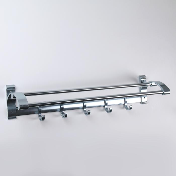 Полка откидная с держателем полотенец, 5 крючков, 59×12×15 см, алюминий