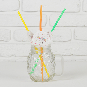 Трубочки для коктейля «Единорог», пластик, набор 6 шт.