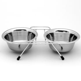 Набор: миска двойная на подставке VM-2700 (G), 2*360 мл